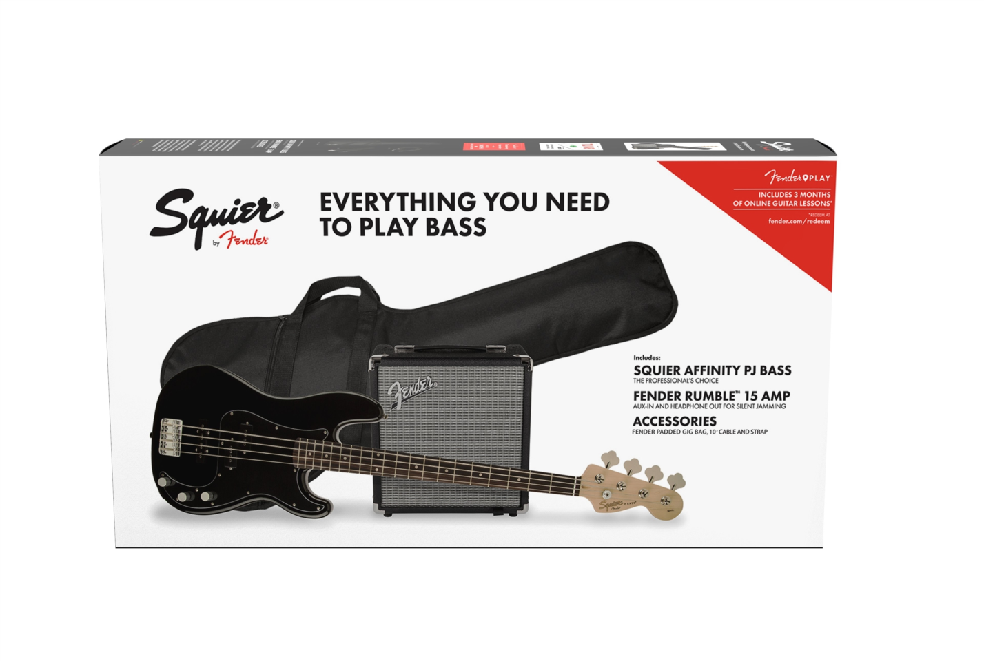 Fender Squier Affinity Precision Bass PJ Pack Lrl Rumble15 Black