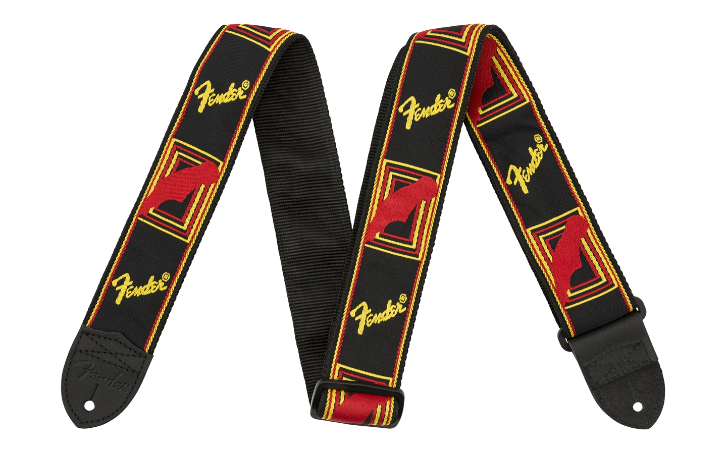 Fender 2 Monogrammed Strap Black/Yellow/Red