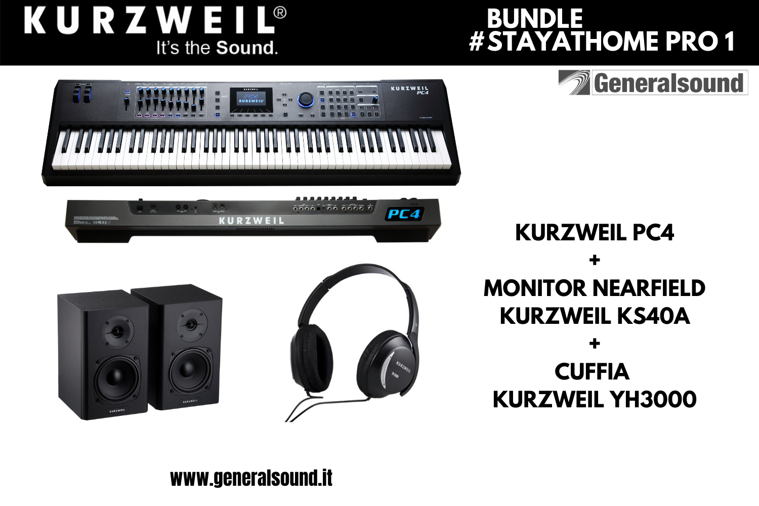 PC4 88 WORKSTATION, CUFFIE, COPPIA MONITOR 4 KURZWEIL